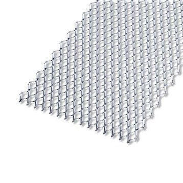 Tôle perforée acier brut, L.100 x l.60 cm x Ep.2.8 mm