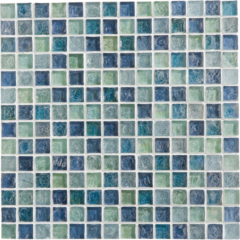 Mosaïque mur Ice flou turquoise 2 x 2 cm   Leroy Merlin