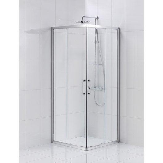 Porte de douche coulissante sensea remix verre transparent for Porte de douche 80 cm