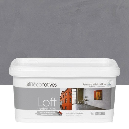 Peinture d corative loft b ton cir les decoratives inox 3 l leroy merlin - Les decoratives com loft beton cire ...