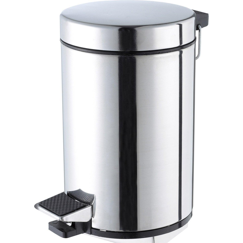 Poubelle de salle de bains 3 l chrom sensea chrom bross - Poubelle noire salle de bain ...