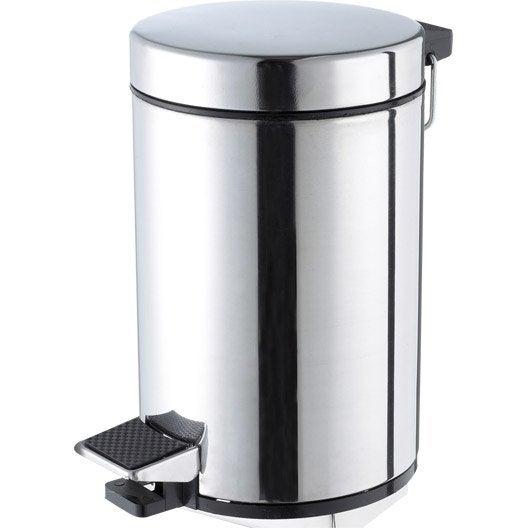 poubelle de salle de bains 3 l chrom sensea chrom bross noir leroy merlin. Black Bedroom Furniture Sets. Home Design Ideas