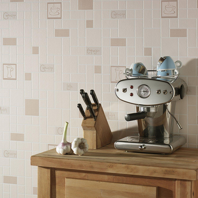du papier peint effet carrelage aux motifs caf leroy merlin. Black Bedroom Furniture Sets. Home Design Ideas