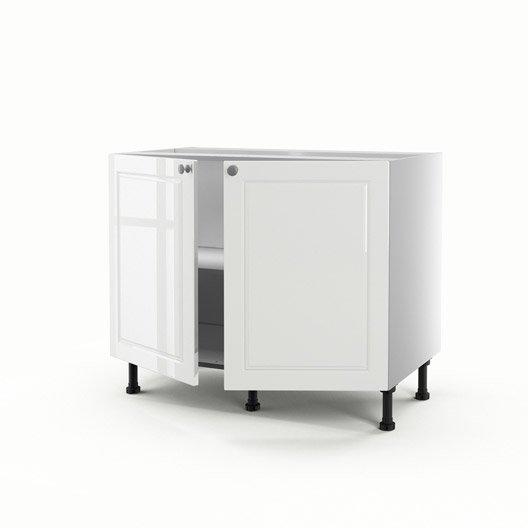 meuble de cuisine bas blanc 2 portes chelsea x x cm leroy merlin. Black Bedroom Furniture Sets. Home Design Ideas