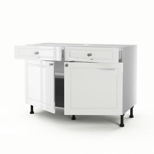 Meuble de cuisine bas blanc 2 portes 2 tiroirs chelsea h for Meuble bas cuisine profondeur 30 cm