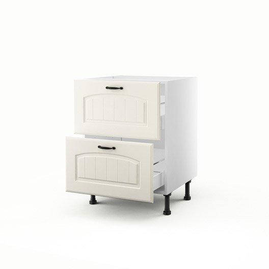 meuble de cuisine bas chanvre 2 tiroirs ol ron h70xl60xp56 cm leroy merlin. Black Bedroom Furniture Sets. Home Design Ideas