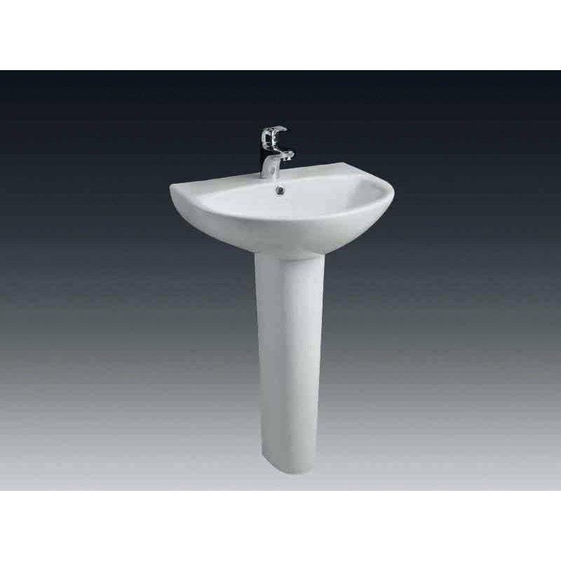 Lavabo pour colonne en céramique blanc Nerea