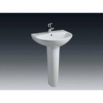 Lavabo nerea en c ramique sans colonne l 55 x l 47 5 cm for Lavabo salle de bain leroy merlin