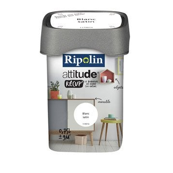 Peinture de rénovation, satiné, RIPOLIN, Attitude récup, blanc 0.75 l