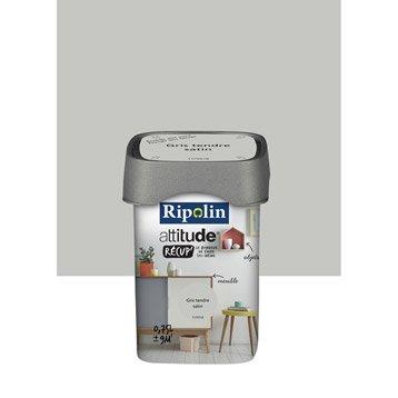 Peinture de rénovation, satiné, RIPOLIN, Attitude récup, gris tendre 0.75 l