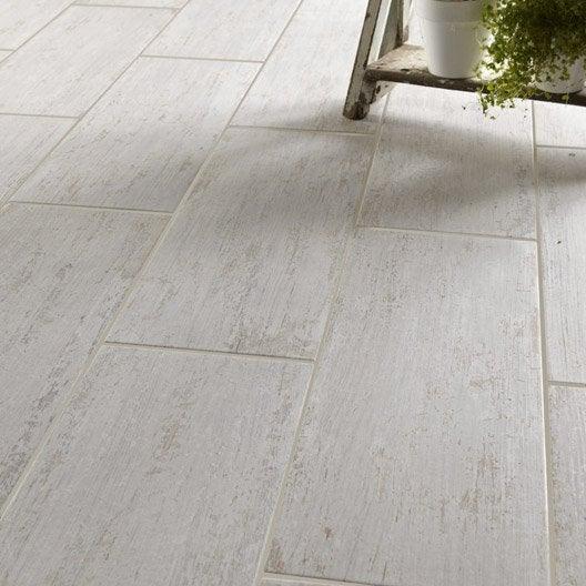 Carrelage sol et mur blanc effet bois cuba x for Pose carrelage sur sol bois