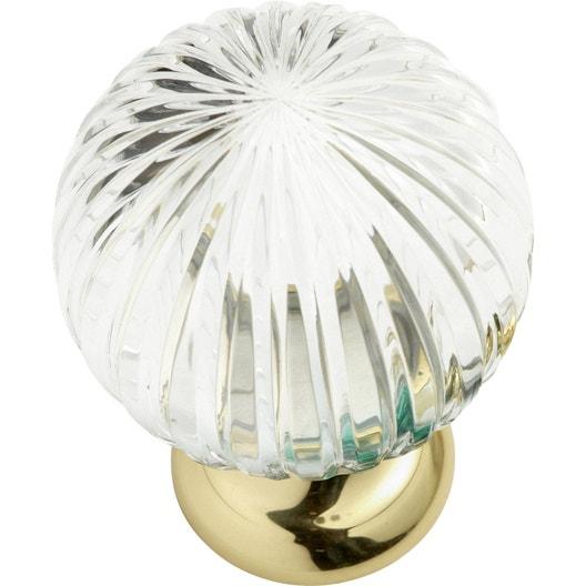 Boule de rampe Cristal verre et laiton brillant | Leroy Merlin