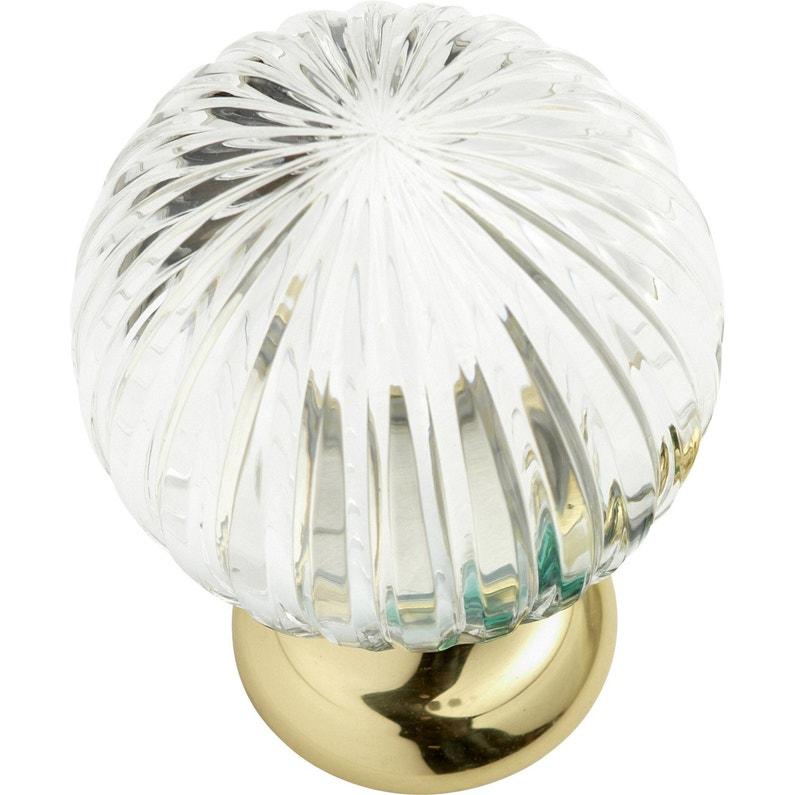 Boule de rampe Cristal verre et laiton brillant   Leroy Merlin