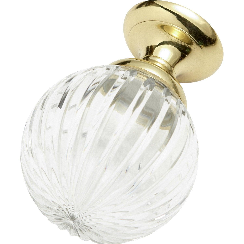 ... Boule De Rampe Cristal Verre Et Laiton Brillant