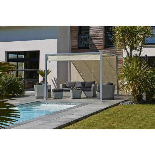 Tonnelle pergola toiture de terrasse leroy merlin for Pergola bioclimatique prix au m