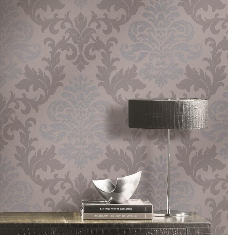 un style baroque dans votre int rieur avec ce papier peint aux nuances grises leroy merlin. Black Bedroom Furniture Sets. Home Design Ideas