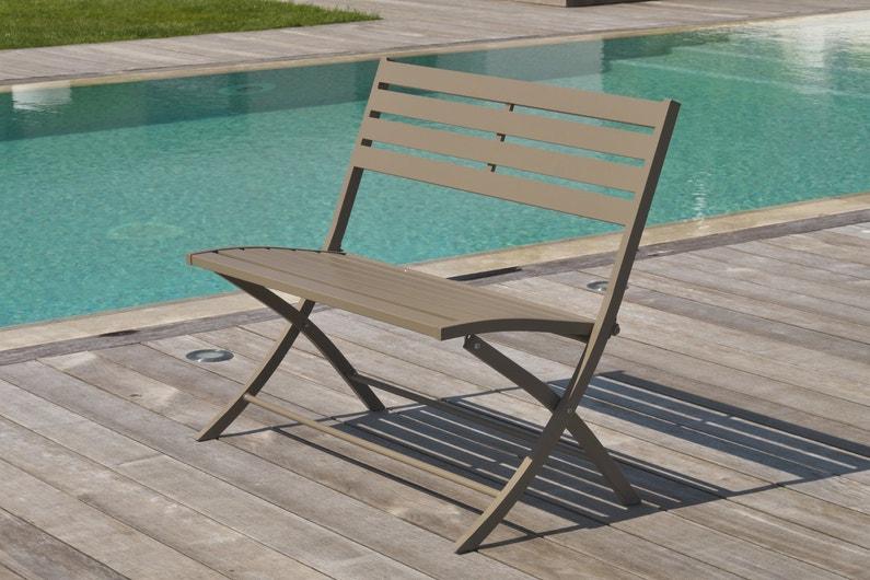 un banc de jardin pliable marron leroy merlin. Black Bedroom Furniture Sets. Home Design Ideas