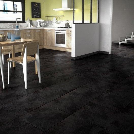 Carrelage sol noir effet b ton toron x cm - Peinture sol effet beton cire leroy merlin ...