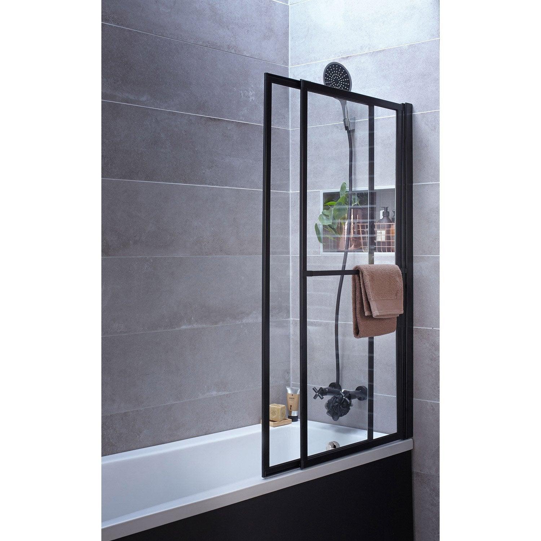 pare baignoire 2 volets pivotant coulissant 140 x 123cm. Black Bedroom Furniture Sets. Home Design Ideas
