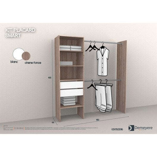 Kit dressing effet chêne havane Dressing smart + effet chene H.195 x l.179.6 x P
