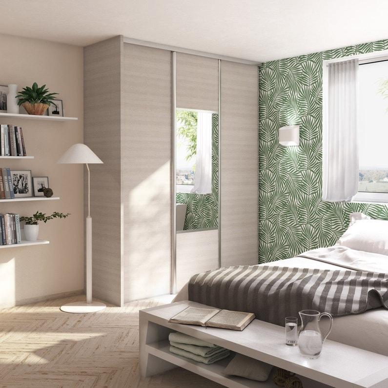 Porte De Placard Coulissante Effet Magnolia Miroir Spaceo L 98 7 X H 250 Cm