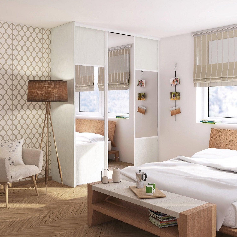 porte de placard coulissante effet fr ne blanc miroir. Black Bedroom Furniture Sets. Home Design Ideas