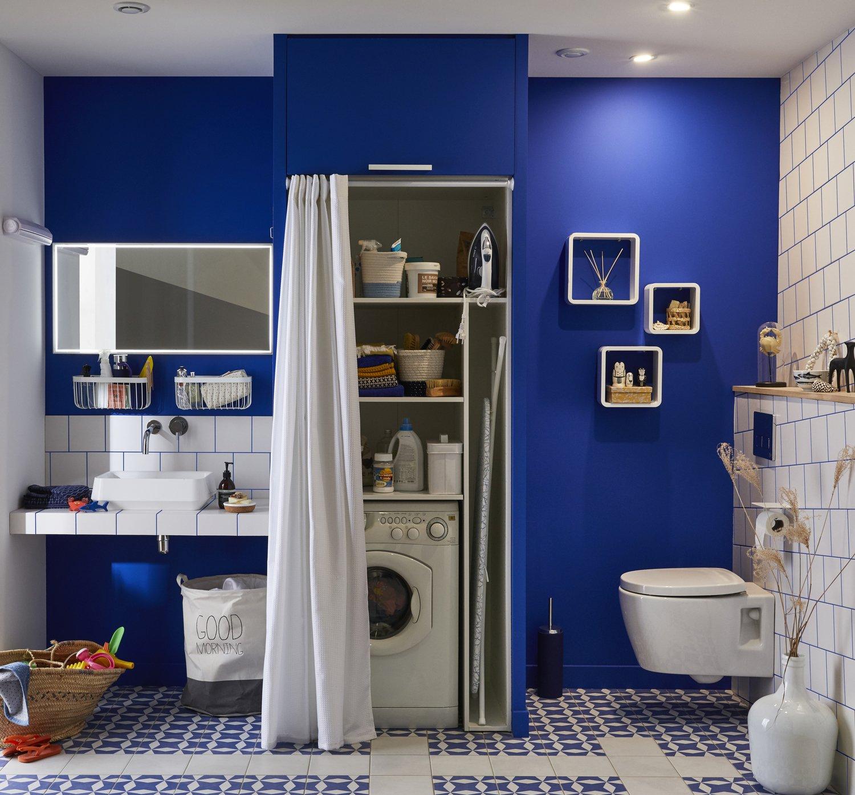 Salle De Bain Moderne Et Zen ~ une salle de bains et buanderie aux murs bleus leroy merlin