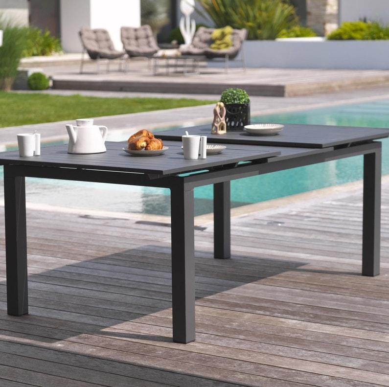 Table de jardin de repas Miami rectangulaire gris anthracite 10 personnes