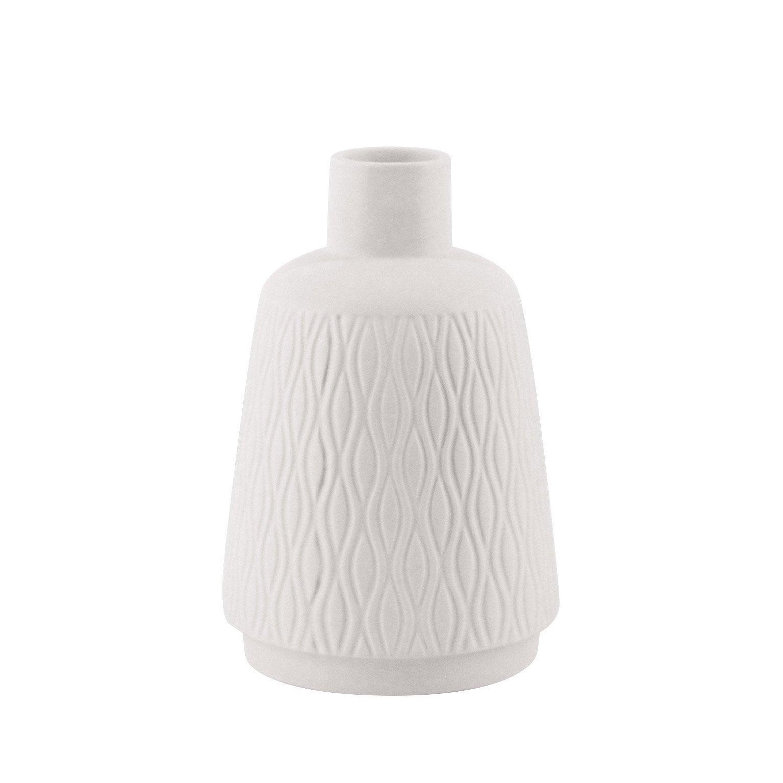 Vase décoratif céramique Gaspard, blanc, Diam.15 cm x H.22 cm