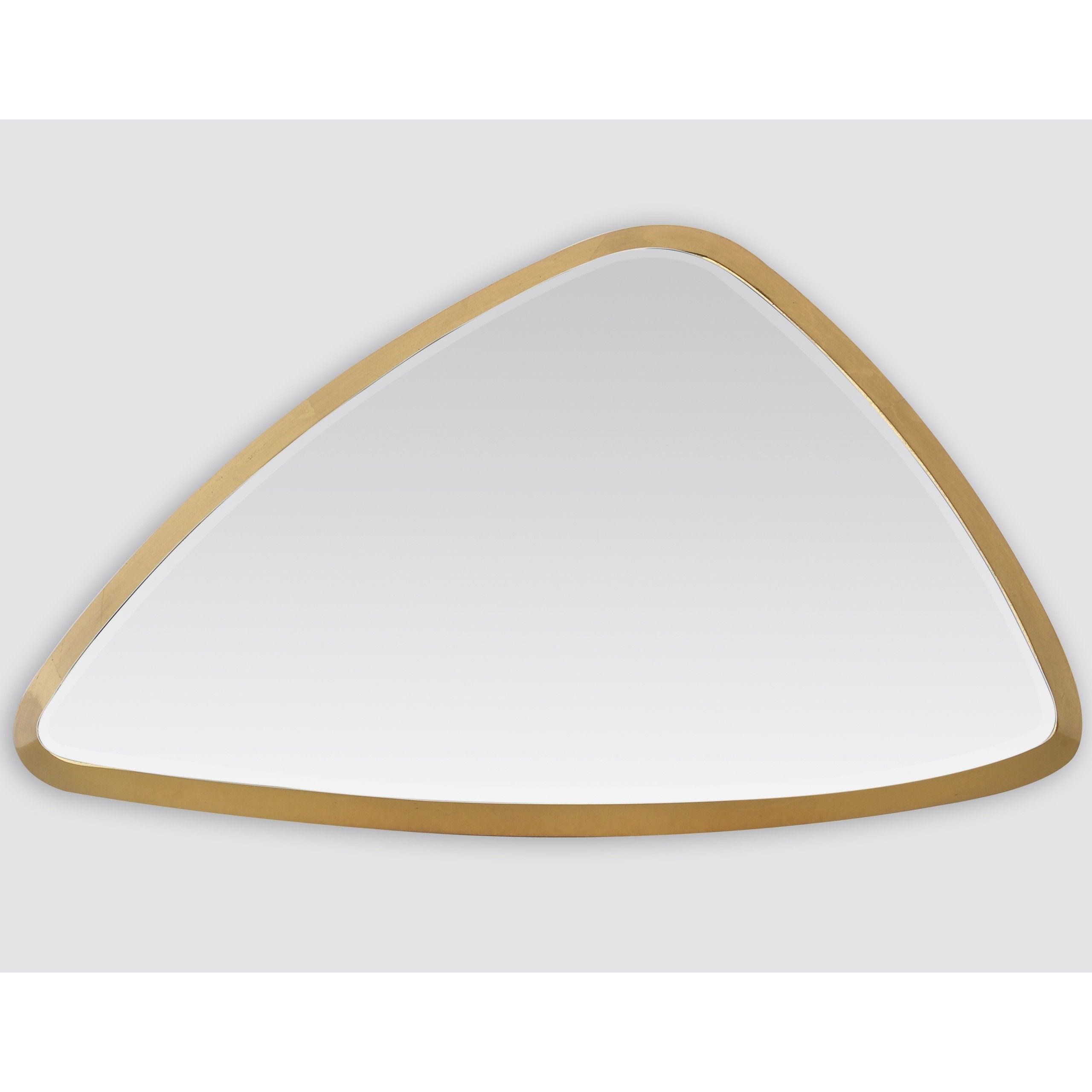 Miroir triangulaire Biseauté, dorée, l.55 x H.55 cm
