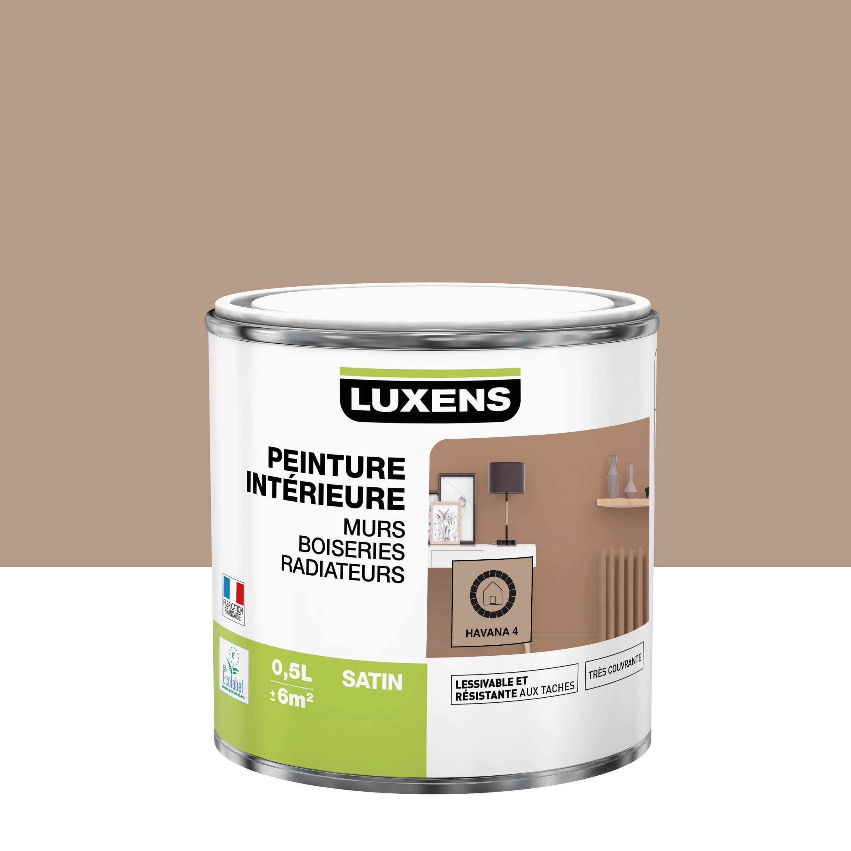 Peinture, mur, boiserie, radiateur, Multisupports LUXENS, havana 4, satin, 0.5 l