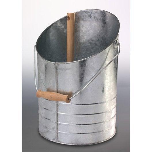 ki seau et pelle cendres acier galvanis et bois inox delta leroy merlin. Black Bedroom Furniture Sets. Home Design Ideas