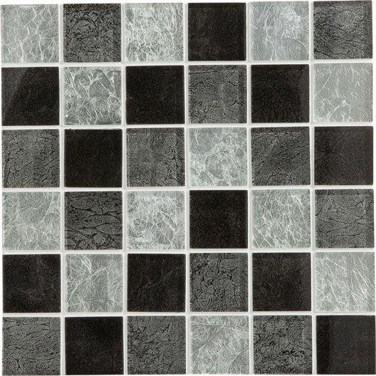 Mosa que glass select mix artens gris 5x5 cm leroy merlin for Carrelage 5x5 blanc