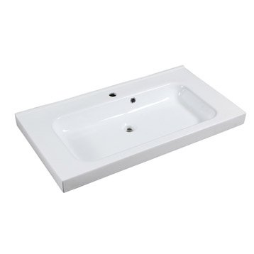 Plan simple vasque sensea remix c ramique blanc l91xl14xp48 5 cm - Lavabo suspendu castorama ...