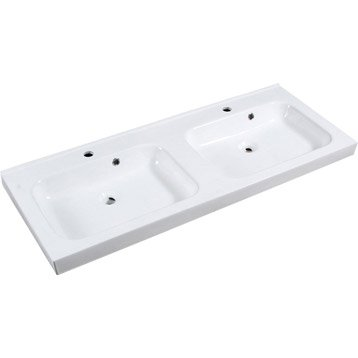 Plan vasque double Remix Céramique 121.0 cm