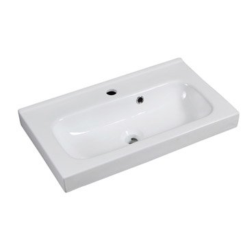 Plan simple vasque sensea remix c ramique blanc l61xl14xp35 cm - Petit lavabo leroy merlin ...