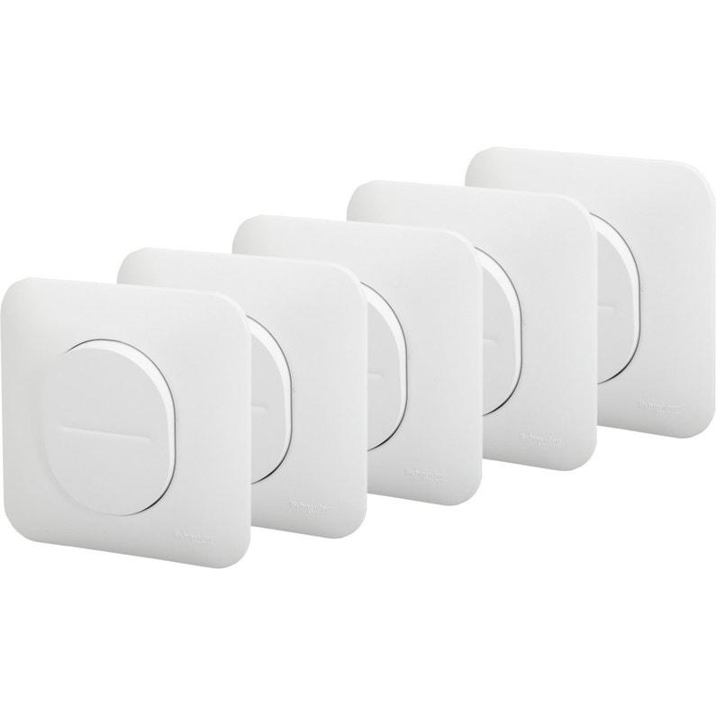 Lot De 5 Interrupteurs Va Et Vient Ovalis Blanc Schneider Electric