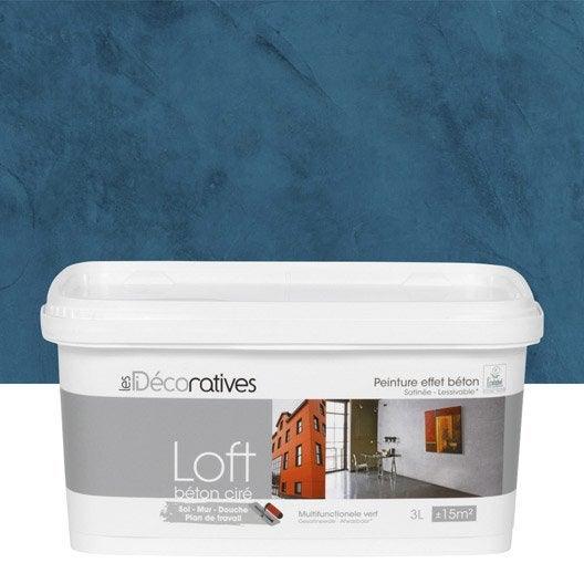Peinture décorative, Loft béton ciré LES DECORATIVES, bleu oxyde, 3