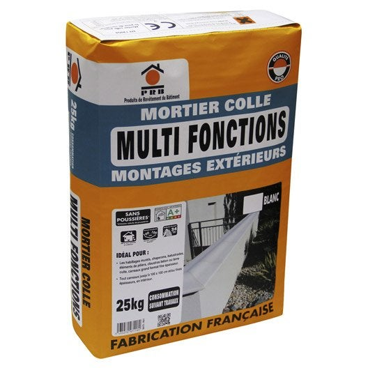Mortier colle multifonctions sans poussi re blanc prb 25kg leroy merlin - Colle bois leroy merlin ...