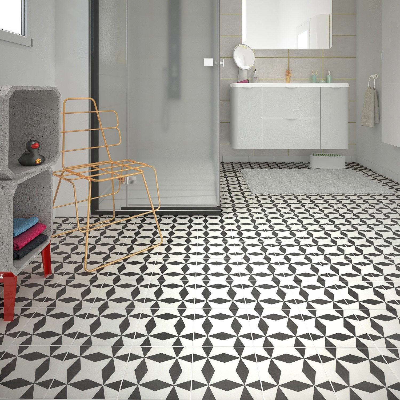 Carrelage Blanc Joint Noir carrelage sol et mur noir blanc aspect carreau de ciment l.20 x l.20 cm