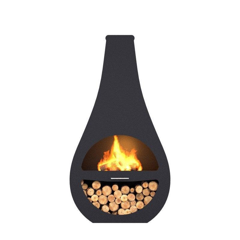 Cheminee D Exterieur Au Charbon De Bois Barbecook Kuro Li Noir