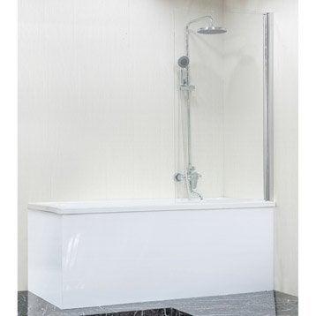 Pare-baignoire 1 volet pivotant H.140 cmxl.80 cm verre sécurité transparent Dado