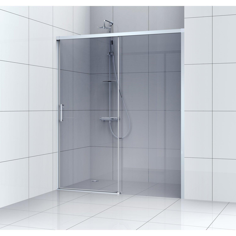 Porte de douche coulissante 100 cm, fumé, Remix   Leroy Merlin