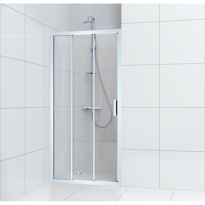 Porte de douche coulissante 100 cm, transparent, Charm | Leroy Merlin