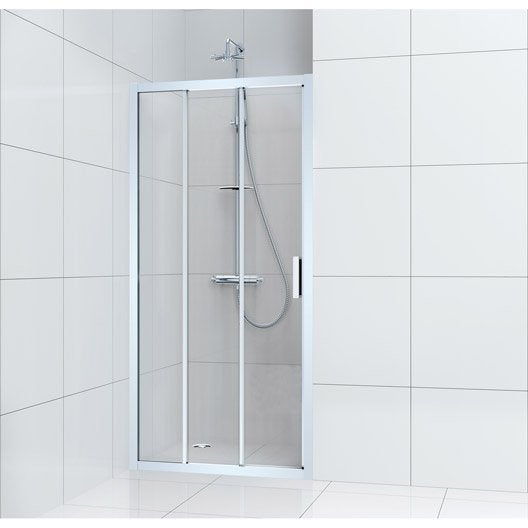 Porte de douche coulissante 100 cm transparent charm for Leroy merlin porte douche