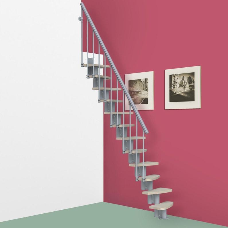 Escalier Droit Pure Structure Acier Gris Clair Marche En Bois