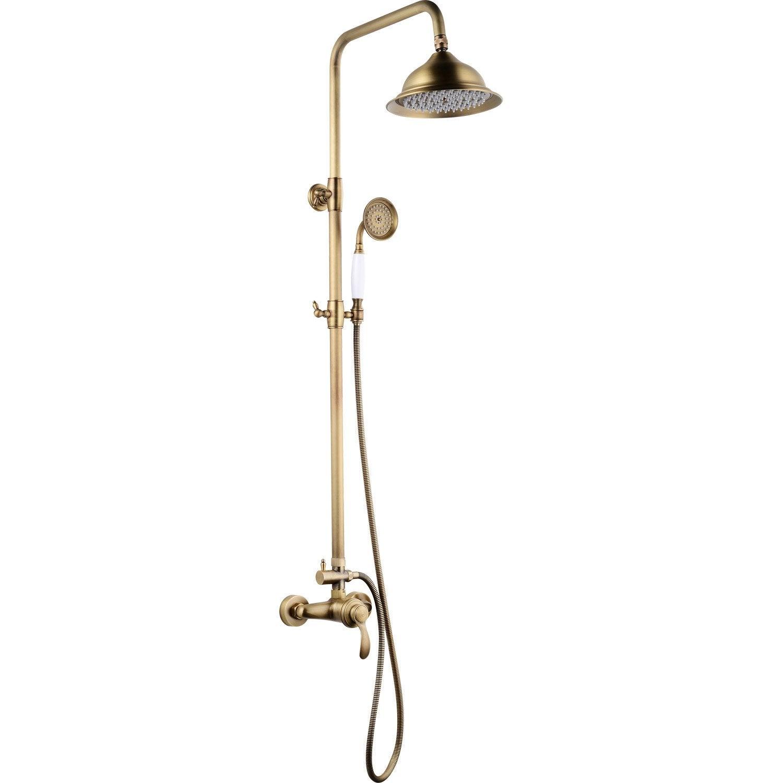 Colonne de douche avec robinetterie, ROUSSEAU Byron mitigeur vieux bronze