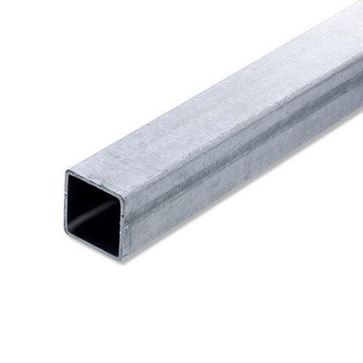 Tube carr acier brut l 2 m x l 3 cm x h 3 cm leroy merlin for Porte barriere jardin