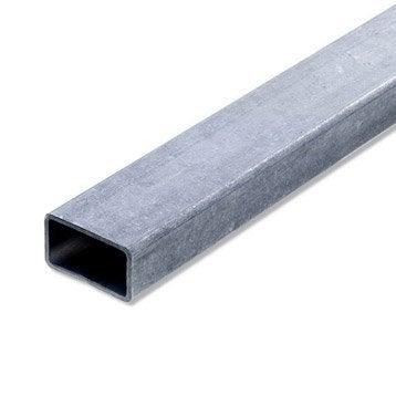 Tube rectangulaire acier brut, L.2 m x l.4 cm x H.2.7 cm