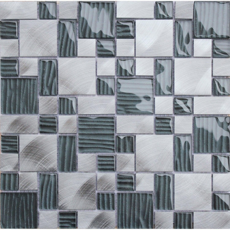 Mosaique Mur Cubic Verre Strie Alu Noir Leroy Merlin